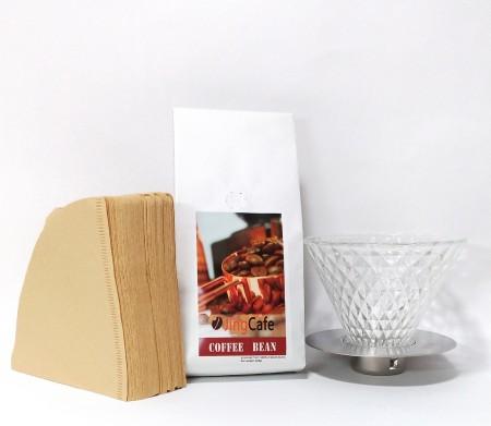 【咖啡職人手沖必備組合】鮮烘咖啡豆半磅+Driver鑽石濾杯(2-4cup)+Hario日本原裝進口 V60無漂白02濾紙100入,超值優惠組
