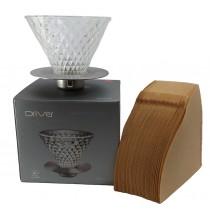 【咖啡手沖入門】Driver鑽石濾杯(2-4cup)+Hario日本原裝進口 V60無漂白02濾紙100入,超值優惠組